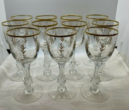 Stunning Art Glass Moser Set 11 Goblets Hand Painted Gold Leaf Design Crystal