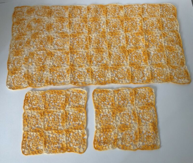 Lot Of Hand Knit Crochet Doilies, Table Runner Napkins Yellow & White