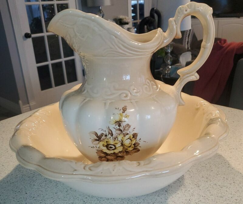 Vintage Ironstone 1890 England Large Pitcher and Wash Basin Cream & Wildflowers