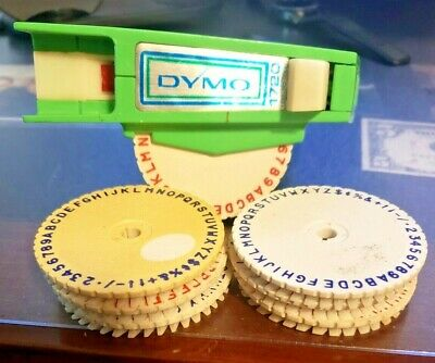 Vintage Green Dymo 1720 Label Maker Embosser Tape Writer 7 Wheels Complete Set