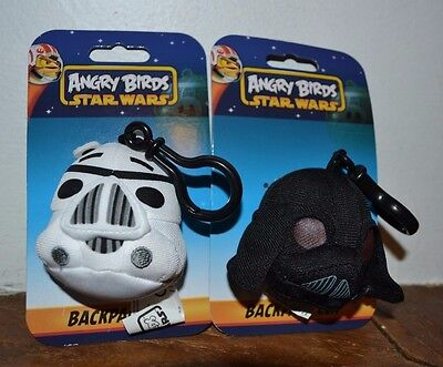 2 Angry Birds Star Wars Plush Backpack Clips Darth Vader & Storm Trooper - Angry Birds Star Wars 2 Plush