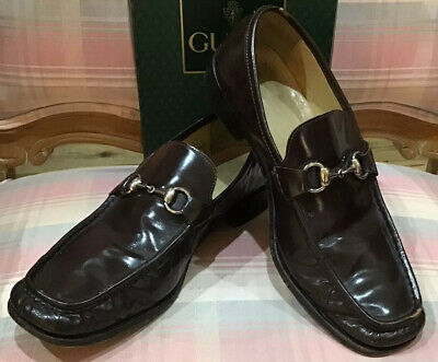 Vintage Ferragamo Dark Brown Sz 10 Men Horse Bit Loafers Square Toe