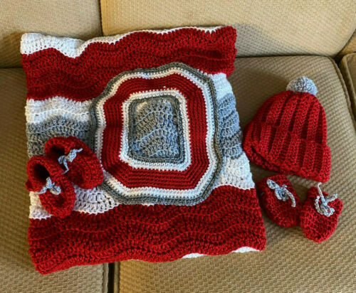 "Ohio State  Baby Afghan Blanket Set - Handmade Crochet 30"" X 38"" New"