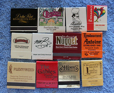 LOT of 12 Vintage Collectible Matchbooks from Restaurants across the USA