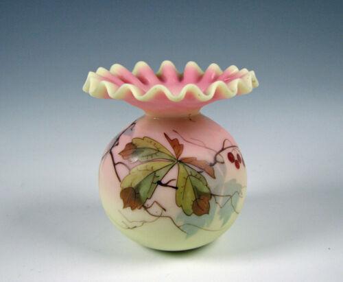 Antique Webb Decorated Burmese Art Glass Vase