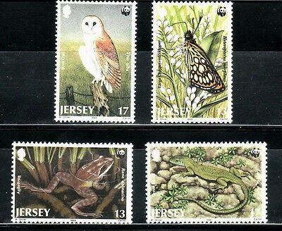 SELLOS TEMA WWF JERSEY 1989 Nº 470/73 AVES/REPTILES/ MARIPOSAS 4v. image