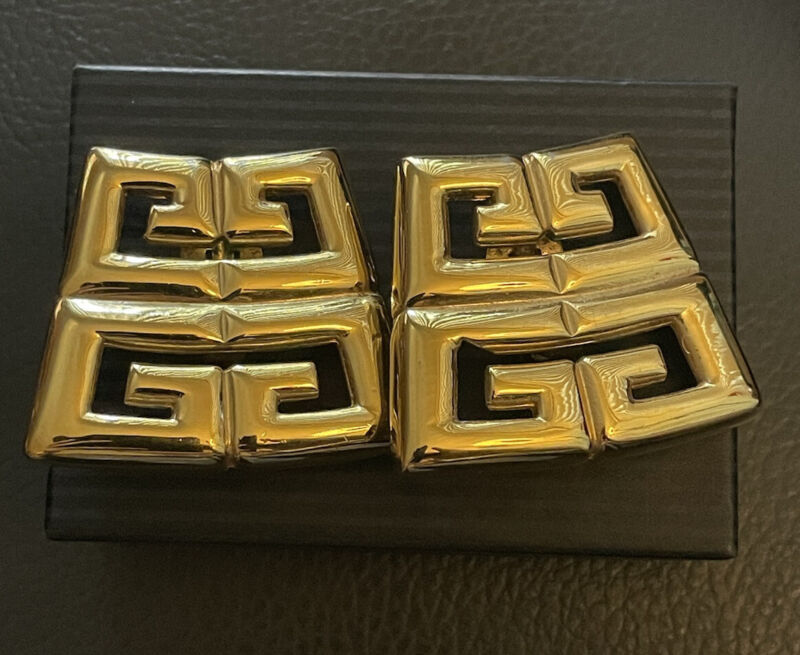 VTG GIVENCHY CLIP EARRINGS LARGE GOLD WOW!