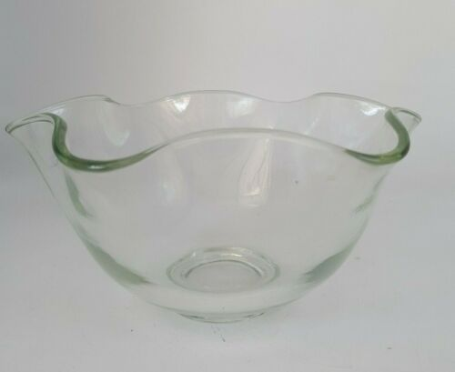 Vintage Mid Century Fluted Centerpiece Fruit Bowl Clear Heavy Glass