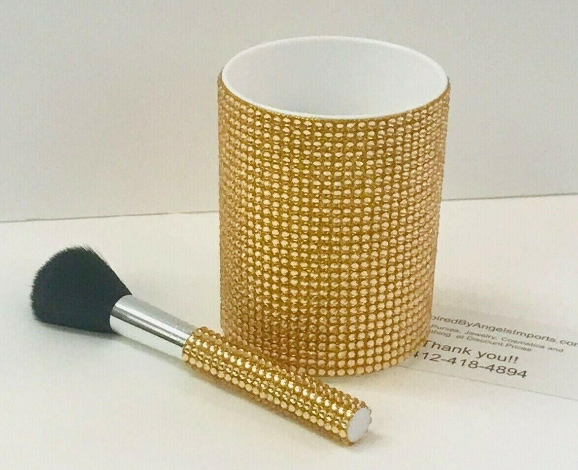 Sparkle Gold Strass Kosmetik Pinsel & Becherhalter Set Macys Twelvenyc Nwt