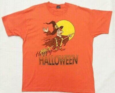 Happy Halloween Black Witch (Vtg Fruit Of The Loom Happy Halloween Witch On A Broomstick Black T-Shirt Sz XL)