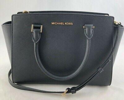 New Authentic Michael Kors Selma Medium Top Zip Satchel Handbag Purse Black