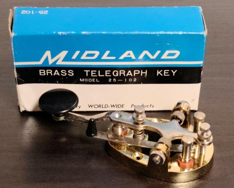MIDLAND 25-102 BRASS TELEGRAPH KEY - JAPAN w/ BOX
