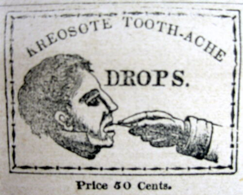 1838 newspaper with illustrated ad DENTAL CREOSOTE DROPS to cure TOOTHACHE Teeth
