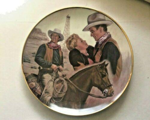 "JOHN WAYNE Collector Plate VTG Ernst 1992 ""War of the Wildcat"" Original Box COA"