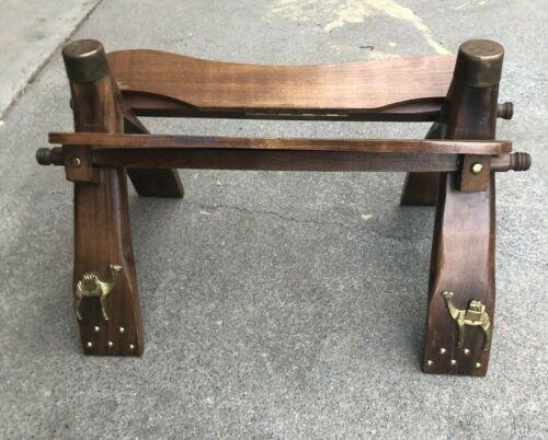 Vintage Egyptian Camel Saddle Wood Brass Accents