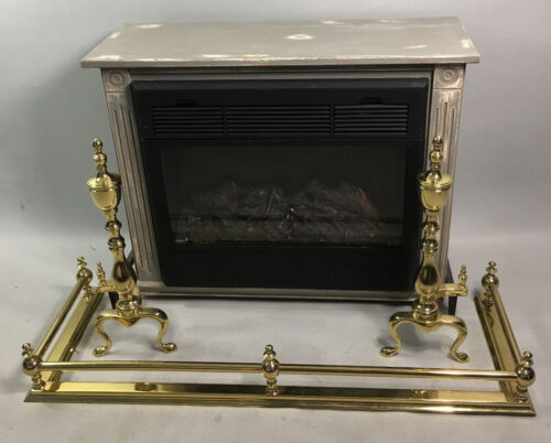 BRASS Federal Traditional ANDIRONS Fire Dogs w Log Holders Fender