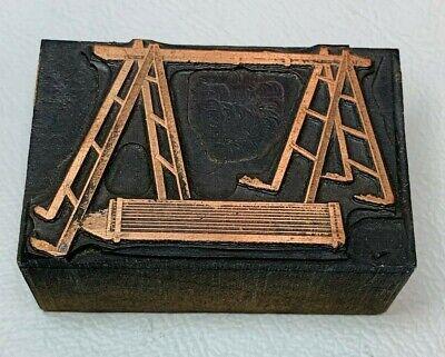 Antique Copper Pick Boards Ladders Letterpress Print Wood Block Cincinnati Oh