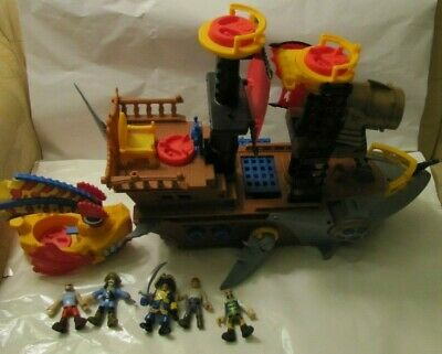 Fisher-Price Imaginext Shark Bite Pirate Ship + 5 figures + boat