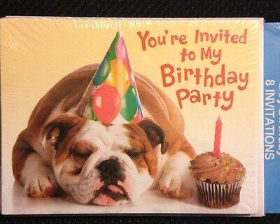 Children's Birthday Invitations Envelopes 8 Bulldogs Puppy Cupcake - Cupcake Birthday Invitations