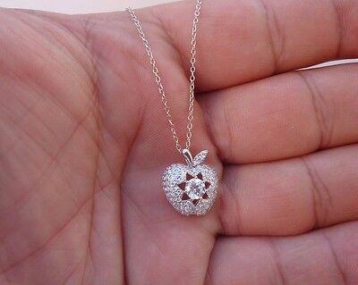 925 STERLING SILVER DESIGNERS APPLE PENDANT NECKLACE W/ 2 CT DIAMONDS/STUNNING!!