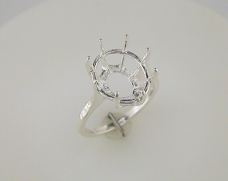 (14x12 - 20x15 mm) 8 Prong Deep Oval Ring Setting Sterling Silver