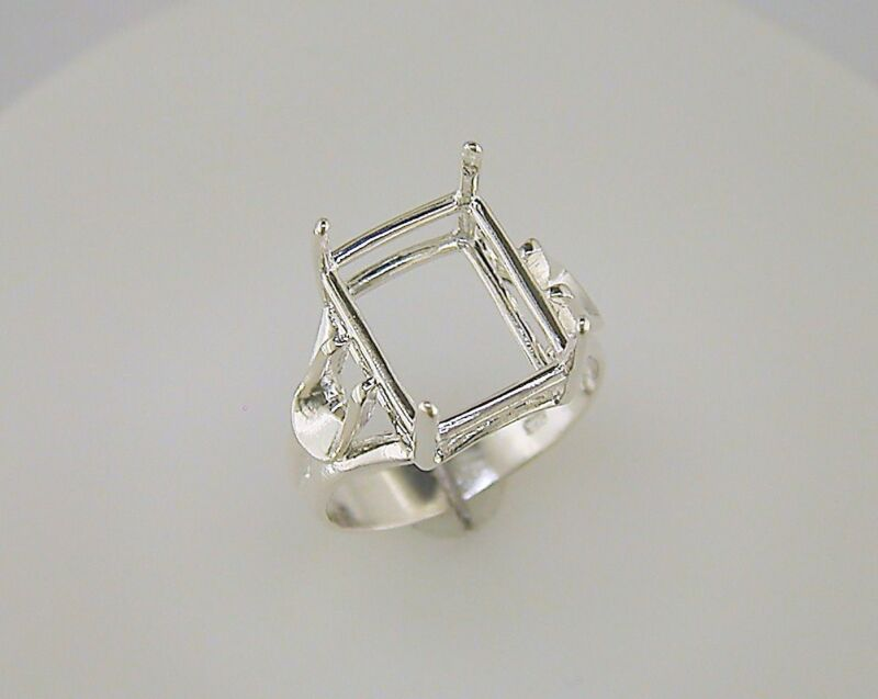 Emerald Cut Side Deco Solitaire Ring Setting Sterling Silver