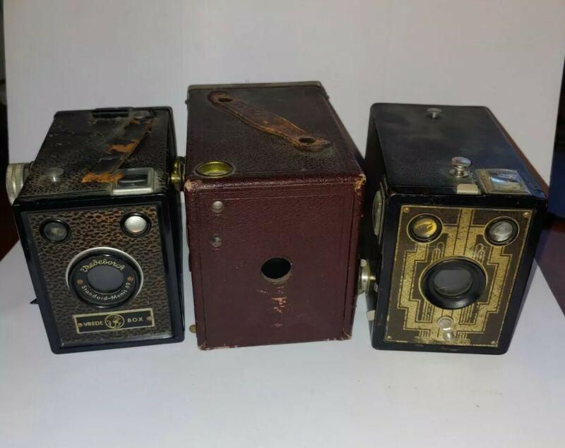 Vintage Box Cameras Lot Of 3, Ansco, Vrede