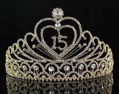 QUINCEANERA 15 FIFTHTEEN BIRTHDAY RHIESTONE TIARA CROWN W HAIR COMBS T1756G GOLD