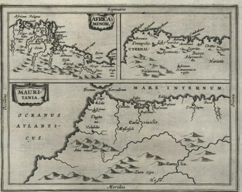 North Africa Morocco Tunis Libya 1661 Jansson miniature map