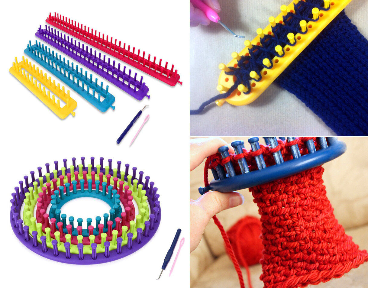 Knitting Looms 4 Ring Sock Scarf Hat Maker Craft Kit Make Knitted Round Knit