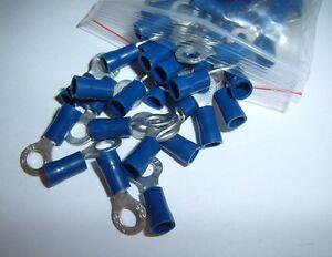 100 Car Ground Wire Ring Terminals Vinyl Blue 16-14 Gauge AWG Ga Connectors