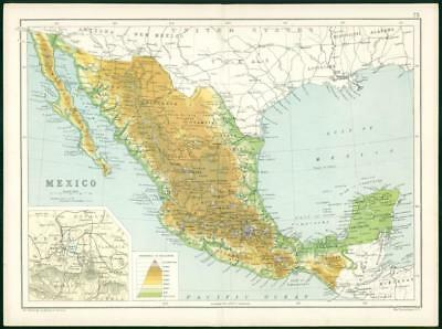 1912 Original Colour Antique Map - SOUTH AMERICA MEXICO MAP  (76)