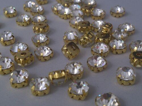 CraftbuddyUS 100 6mm SS28 Clear Sew On Gold Set Glass Crystal Diamnte Rhinestone