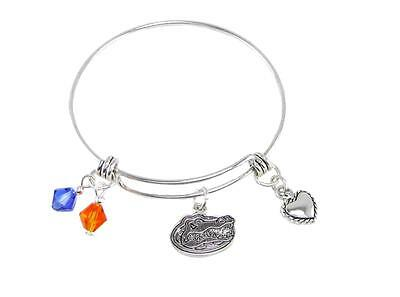Florida Gators Blue Austrian Crystal Silver Wire Bangle Bracelet Jewelry Uf