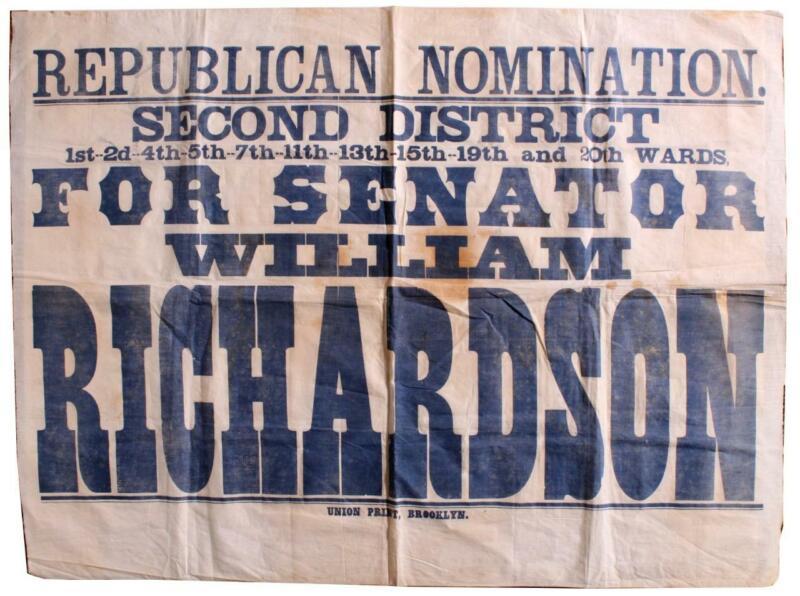 Brooklyn New York Political Banner 1875 HUGE 9 Square Feet