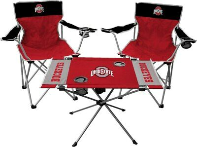 Ohio State Buckeyes Football Tailgating Kit, Table and Chairs Set - Ohio State Party Supplies
