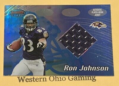 2002 Bowman's Best Ron Johnson #115 Authentic Player-Worn Jersey (Baltimore Ravens Best Players)