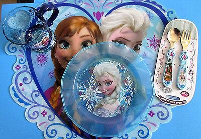 New Disney Frozen Elsa,Anna & Olaf Meal Time Magic Collection 4 Pzas