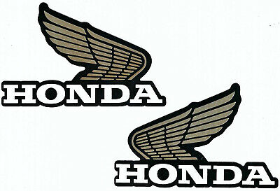 Honda Wing Logo Right Left Set Vinyl Decals Sticker Gold Black Motorcycle Auto  -