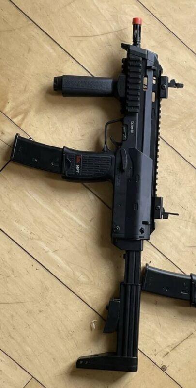 hk umarex mp7 Pair X2 Pistols Electric Full Auto Airsoft Guns Lot Extras 240fps