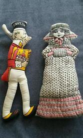 Sunny Jim force cereal man and his lovely lady soft toys, vintage retro old