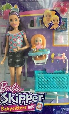 ✨ Barbie Skipper BABYSITTERS INC BRUNETTE DOLL BABY HIGH CHAIR CRIB ACCESSORIES✨