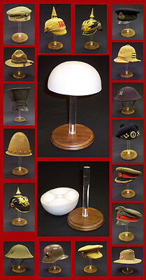 Display Stand With Wood Base Victorian British French US Spike Helmet Hat Cap
