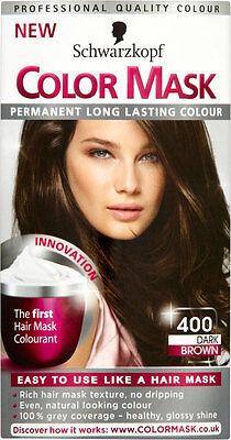4 X Schwarzkopf COLOR MASK Permanent Colour 400 Dark Brown