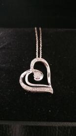 Sterling Silver Heart Design Diamond Pendant Necklace
