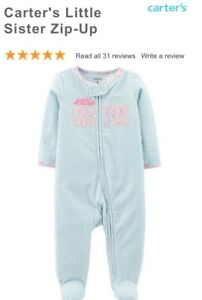Carters Little Sister blue size 9 month zipper fuzzy sleeper