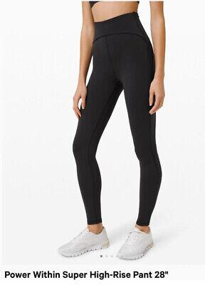 """Lululemon Power Within Black Super High Rise Leggings 28"""" Gym Yoga US2 UK6"""