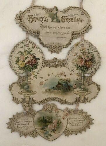 1880s VICTORIAN Die Cut Triptych VALENTINE Heart