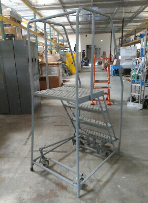 Cotterman 4-step Rolling Ladder Expanded Metal Step Tread 70 Overall Height 450