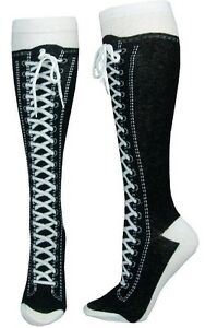 Sneaker-Converse-Novelty-Shoe-Knee-High-With-Shoe-Lace-Black